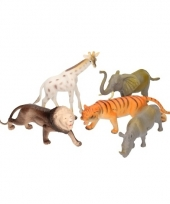Speelgoed grote plastic safari diertjes 5 stuks