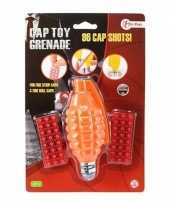 Speelgoed handgranaat met plaffertjes met 96 schoten oranje 14 c