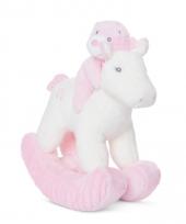 Speelgoed hobbelpaard roze met geluid voor babys 28 cm