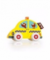 Speelgoed hout gele taxi auto 10 cm