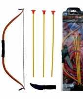 Speelgoed indianen boog met 3 pijlen en mes 40 cm