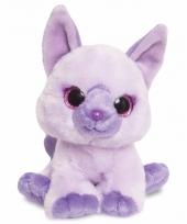 Speelgoed katten knuffel paars 18 cm