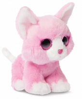 Speelgoed katten knuffel roze 18 cm