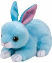 Speelgoed knuffeldier blauwe konijntje ty beanie jumper 33 cm