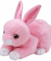 Speelgoed knuffeldier roze konijntje ty beanie walker 33 cm