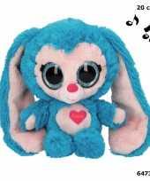 Speelgoed konijnen knuffel blauw 20 cm