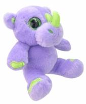 Speelgoed neushoorn knuffel paars 19 cm