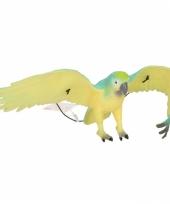 Speelgoed papegaai blauw zwart 33 cm