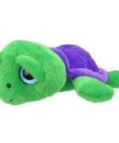 Speelgoed schildpad knuffel groen paars 24 cm