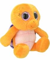 Speelgoed schildpad knuffel oranje paars 18 cm