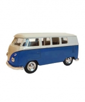 Speelgoed vw busje blauw autootje 15 cm