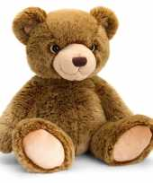 Speelgoed zittende knuffel teddybeer donkerbruin 35 cm