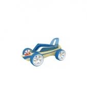 Speelgoedauto bamboe blauwe roadster raceauto