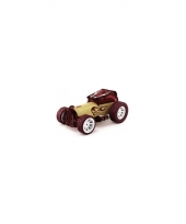 Speelgoedauto bamboe bordeaux raceauto 8 cm