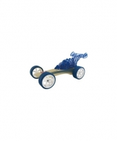 Speelgoedauto bamboe donker blauwe raceauto 8 cm