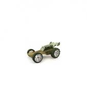 Speelgoedauto bamboe donker groene raceauto 8 cm