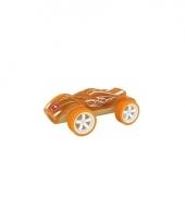 Speelgoedauto bamboe oranje raceauto 8 cm
