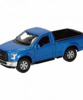 Speelgoedauto ford f 150 pick up blauw 12 cm