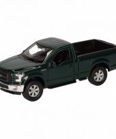 Speelgoedauto ford f 150 pick up donkergroen 12 cm