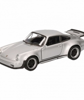 Speelgoedauto porsche 911 turbo grijs 12 cm