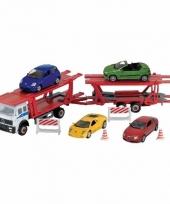 Speelgoedauto vrachtwagen met autootjes op aanhanger 1 60