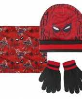 Spiderman muts handschoenen en sjaal rood zwart