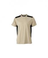 Sportief werk t-shirt beige voor heren