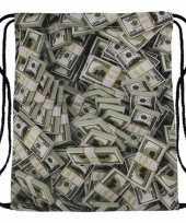 Sporttasje met bankbiljetten print