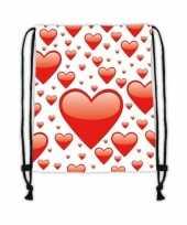 Sporttasje wit met rode hartjes