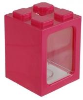 Stapel spaarpotje roze 11 cm