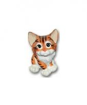 Stenen kat zittend 13 cm bruin