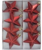Ster kerstballen rood 8 stuks