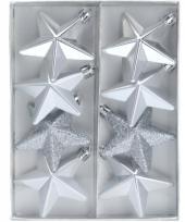 Ster kerstballen zilver 8 stuks