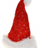 Sterren kerstmuts met bontrandje