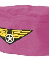 Stewardess hoedje roze