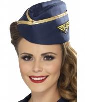 Stewardessen hoeden blauw