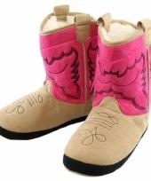 Stoere meisjes cowboy slof laarzen roze