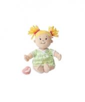 Stoffen pop baby met groen jurkje en blonde staartjes