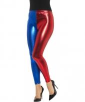 Superheld legging rood blauw metallic voor dames