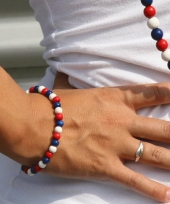 Supporters kralen armband rood wit blauw