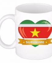 Surinaamse vlag hart mok beker 300 ml