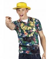 T shirt hawaii toerist print heren
