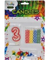 Taarten decoratie kaarsen cijfer 3