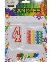 Taarten decoratie kaarsen cijfer 4