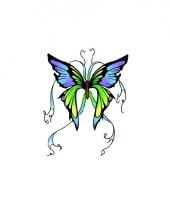 Tatoeage glitter vlinder groen blauw