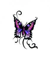 Tatoeage glitter vlinder zwart paars