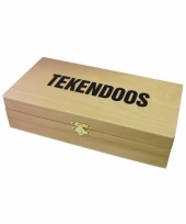 Tekenspullen doos van hout 10089472