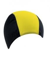 Textiele badmuts zwart geel voor volwassenen
