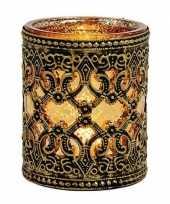 Theelichthouder goud zwart antiek 10 cm