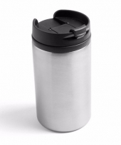 Thermos autobeker metallic staal grijs 320 ml